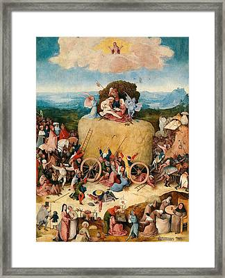 The Hay Wagon - Central Panel Framed Print by Hieronymus Bosch