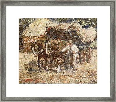 The Hay Wagon Framed Print by Harry Fidler