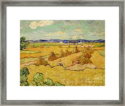 The Haystacks Framed Print by Vincent van Gogh