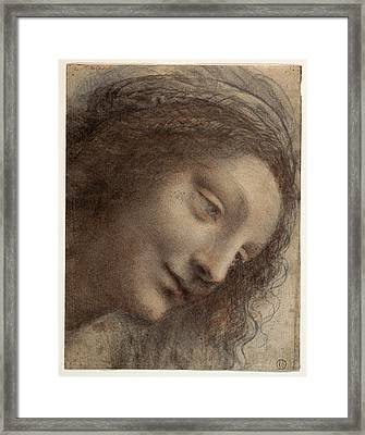 The Head Of The Virgin In Three-quarter View Facing Right Framed Print