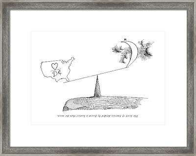 The Heart Of America Divided By Dissent Framed Print by Saul Steinberg