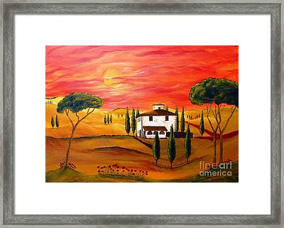 The Heat Of Tuscany Framed Print by Christine Huwer