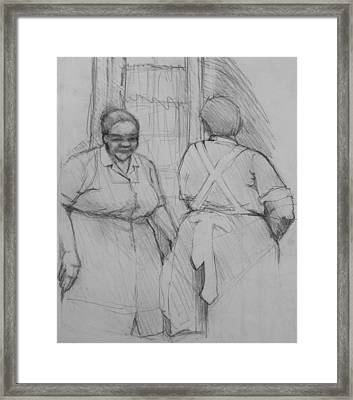 The Help - Housekeepers Of Soniat House Sketch Framed Print by Jani Freimann
