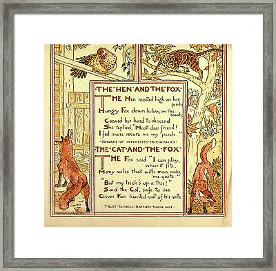 The Hen And The Fox The Cat And The Fox Framed Print by English School