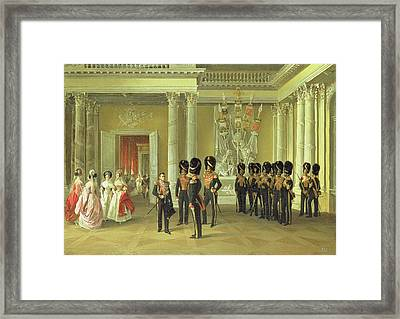 The Heraldic Hall In The Winter Palace, St Petersburg, 1838 Oil On Canvas Framed Print