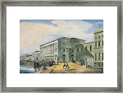 The Hermitage Theatre As Seen From The Vassily Island, 1822 Colour Litho Framed Print