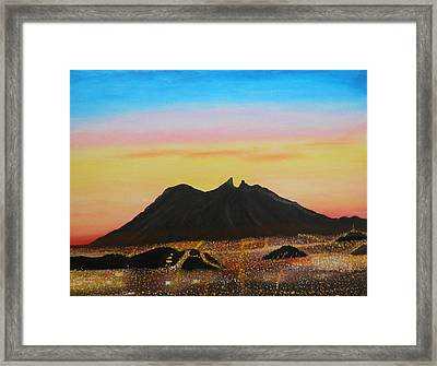 The Hill Of Saddle Monterrey Mexico Framed Print by Jorge Cristopulos