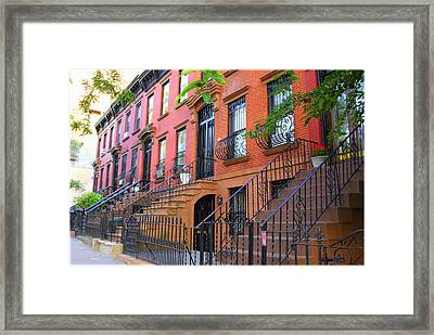 The Historic Brownstones Of Brooklyn Framed Print by Dora Sofia Caputo Photographic Art and Design