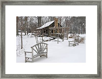 The Historic Gosnell Log Cabin After A Snowfall  Mauldin Sc Framed Print