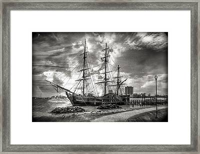 The Hms Bounty In Black And White Framed Print by Debra and Dave Vanderlaan