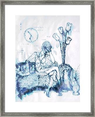 Framed Print featuring the drawing The Hold Up by Angelique Bowman