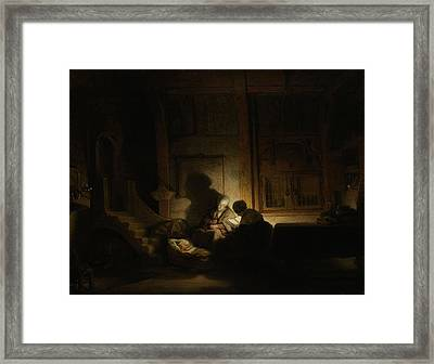 The Holy Family At Night Framed Print by Litz Collection