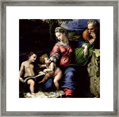 The Holy Family Of The Oak Tree, Circa 1518 Framed Print by Raphael