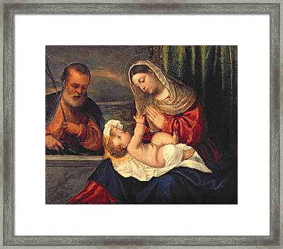 The Holy Family Framed Print by Polidoro da Lanciano