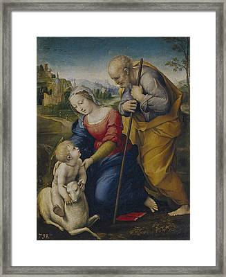 The Holy Family With A Lamb Framed Print by Raphael