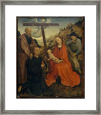 The Holy Family With Saint Paul Framed Print by Style of Rogier van der Weyden