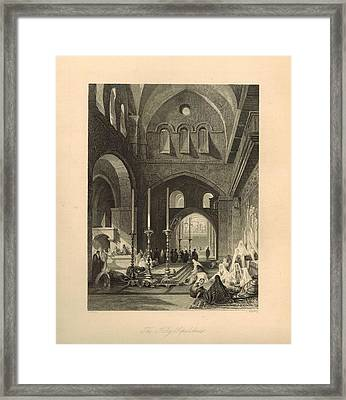 The Holy Sepulchre 1886 Engraving With Border Framed Print by Antique Engravings