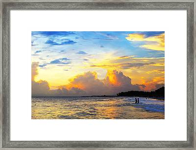 The Honeymoon - Sunset Art By Sharon Cummings Framed Print