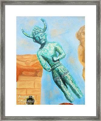 The Horned God From Egkomi .  Framed Print by Augusta Stylianou