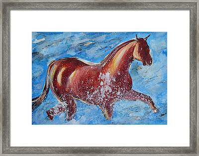 The Horse And The Sea Framed Print by Ion vincent DAnu