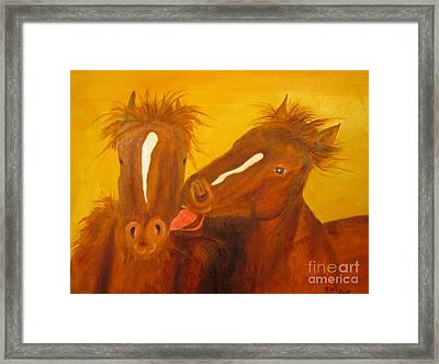 The Horse Kiss - Original Oil Painting Framed Print by Anthony Morretta