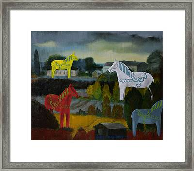 The Horses Of The Village Framed Print by Jukka Nopsanen