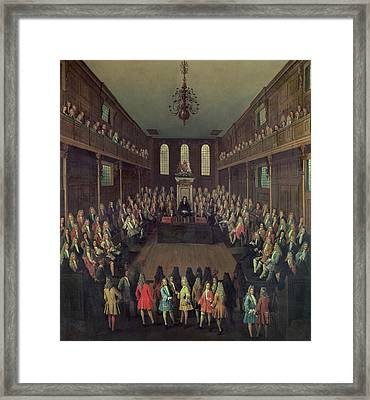 The House Of Commons In Session, 1710 Oil On Canvas Framed Print by Peter Tillemans