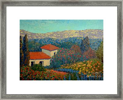 The House On The Sierras Framed Print by Monica Caballero