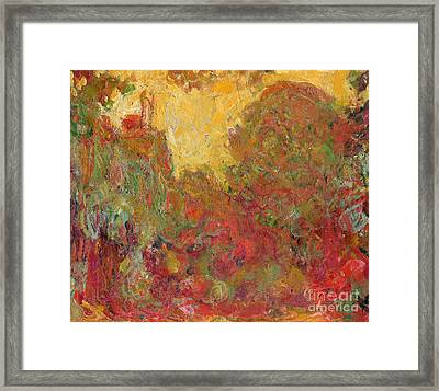 The House Seen From The Rose Garden Framed Print by Claude Monet