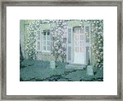 The House With Roses Framed Print by Henri Eugene Augustin Le Sidaner