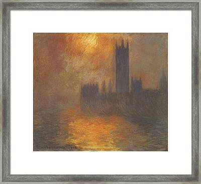 The Houses Of Parliament Sunset Framed Print by Claude Monet