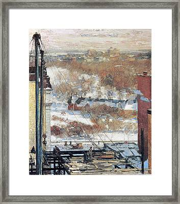 The Hovel And The Skyscraper Framed Print by Childe Hassam