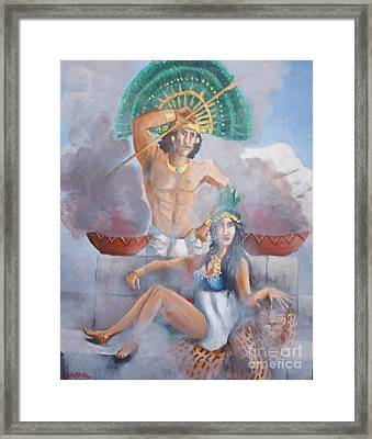 The Huey Tlatoni Or Emperor And Wife Framed Print