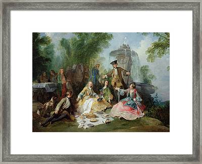 The Hunting Party Meal, C. 1737 Oil On Canvas Framed Print by Nicolas Lancret