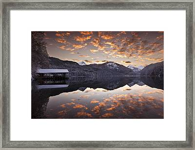 The Hut By The Lake Framed Print by Jorge Maia