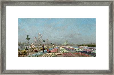 The Hyacinth Fields In Bloom At The Van Framed Print by Adrien Louis Demont