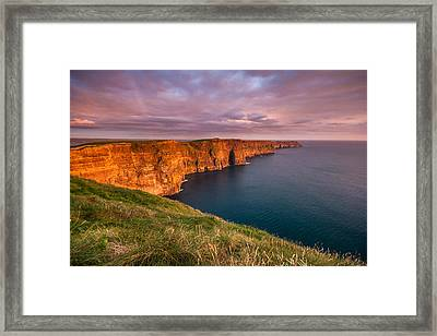 The Iconic Cliffs Of Moher At Sunset On The West Coast Of Ireland Framed Print