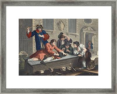 The Idle Prentice At Play In The Church Framed Print by William Hogarth