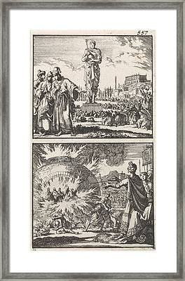 The Idol Of Nebuchadnezzar, Three Young Men In The Fiery Framed Print by Jan Luyken And Barent Visscher And Andries Van Damme