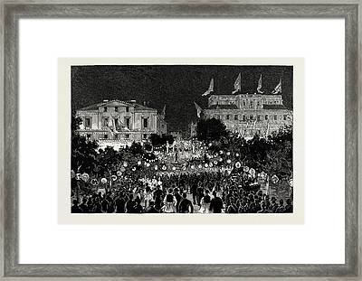 The Illuminations In The Place De La Constitution Framed Print by Litz Collection