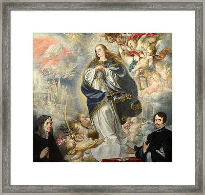 The Immaculate Conception With Two Donors Framed Print by Juan de Valdes Leal