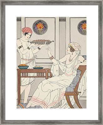 The Immoderate Consumption Of Sesame Cakes And Sweets With Honey Framed Print by Joseph Kuhn-Regnier