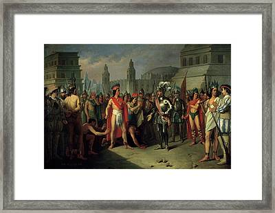 The Imprisonment Of Guatimocin By The Troops Of Hernan Cortes, 1856 Oil On Canvas Framed Print by Carlos Maria Esquivel