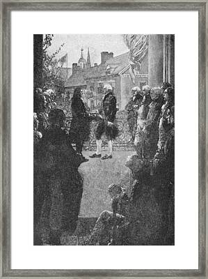 The Inauguration, Engraved By Francis Scott King, Illustration From Washingtons Inauguration Framed Print