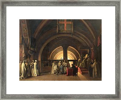 The Inauguration Of Jacques De Molay Into The Order Of Knights Templar In 1295 Oil On Canvas Framed Print by Francois-Marius Granet