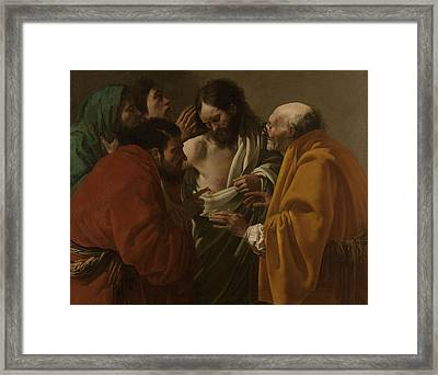 The Incredulity Of Thomas, Hendrick Ter Brugghen Framed Print
