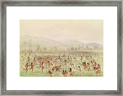 The Indian Ball Game, C.1832 Colour Litho Framed Print by George Catlin