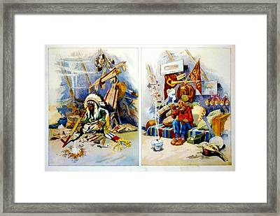 The Indian Tepee Then And Now Framed Print by Puck Magazine Image 1908