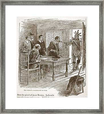 The Indians Declaration Of War Framed Print by American School