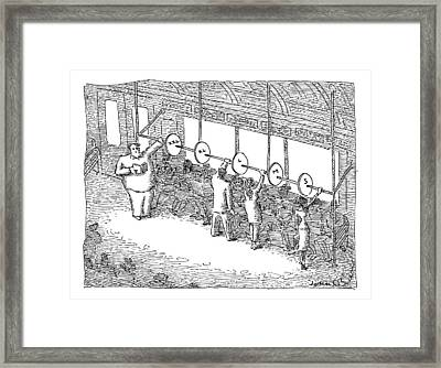 The Inside Of A Subway Car Is Organized With Size Framed Print by John O'Brien